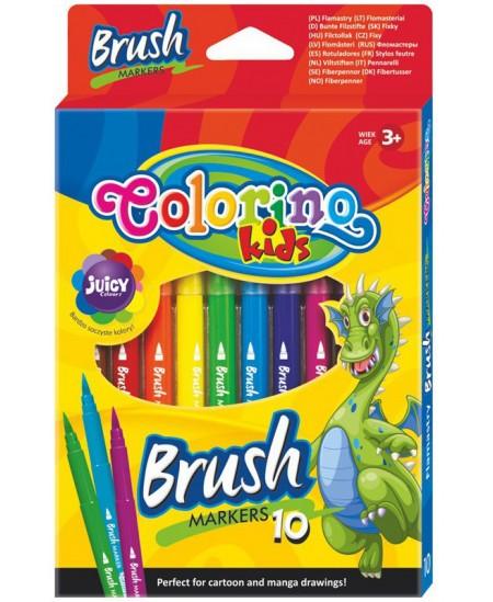 Flomasteriai COLORINO Brush, 10 spalvų