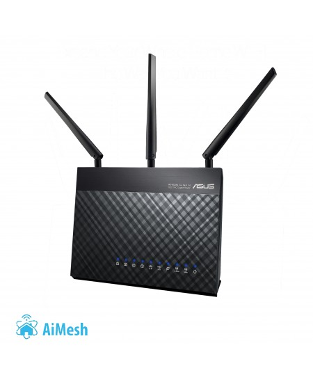 Asus Router RT-AC68U 802.11ac, 600+1300 Mbit/s, 10/100/1000 Mbit/s, Ethernet LAN (RJ-45) ports 4, Mesh Support Yes, 3G/4G via op