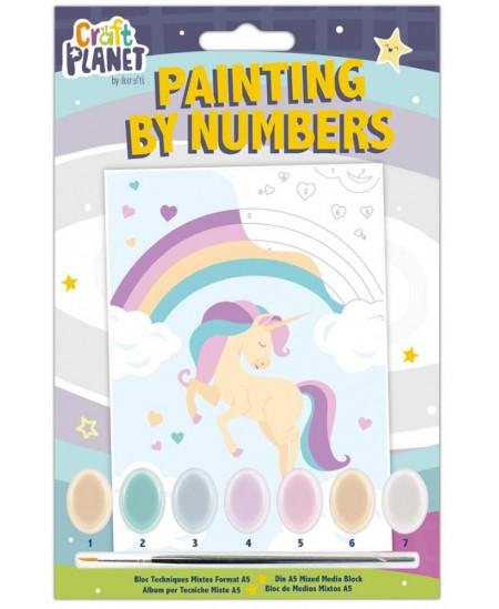Spalvinamas paveikslas CRAFT PLANET, pagal skaičius, vienaragiai