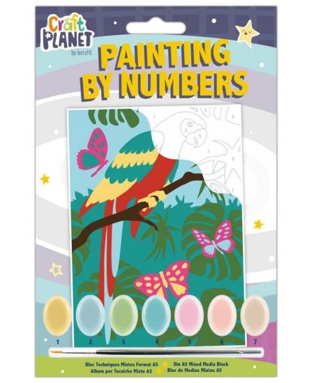 Spalvinamas paveikslas CRAFT PLANET, pagal skaičius, papūga