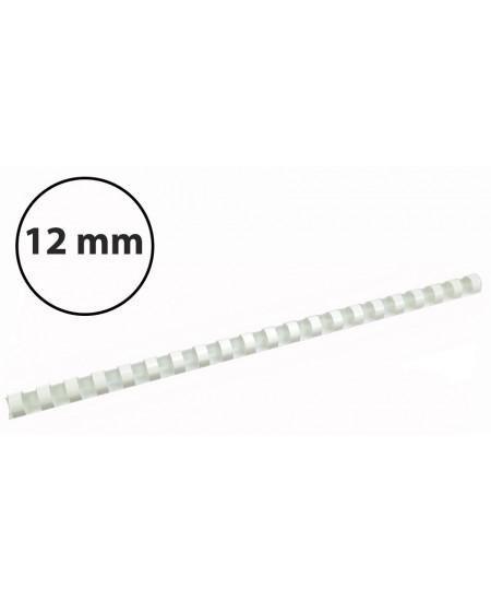 Plastikinės įrišimo spiralės, 12mm, 100vnt, baltos sp.
