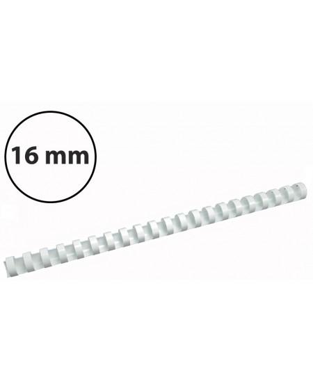 Plastikinės įrišimo spiralės, 16mm, 100vnt, baltos sp.