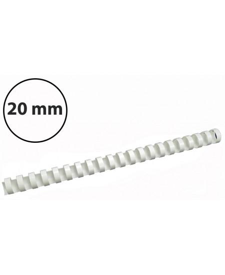 Plastikinės įrišimo spiralės, 20mm, 100vnt, baltos sp.