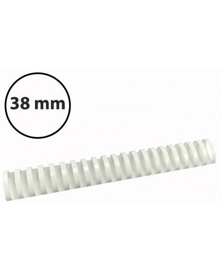 Plastikinės įrišimo spiralės, 38mm, 50vnt, baltos sp.