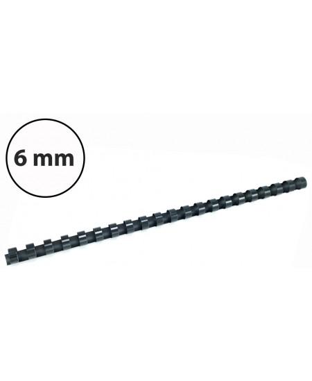 Plastikinės įrišimo spiralės, 6mm, 100vnt, juodos sp.
