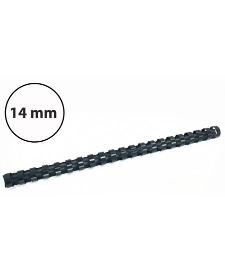 Plastikinės įrišimo spiralės, 14mm, 100vnt, juodos sp.