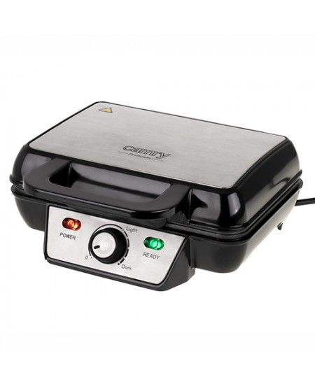 Camry Waffle Maker CR 3046 Belgium, Number of waffles 2, 1600 W, Black/Stainless Steel