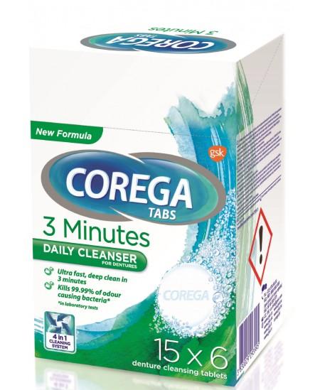 Protezų valiklis Corega Tabs 3 Minutes, 6vnt