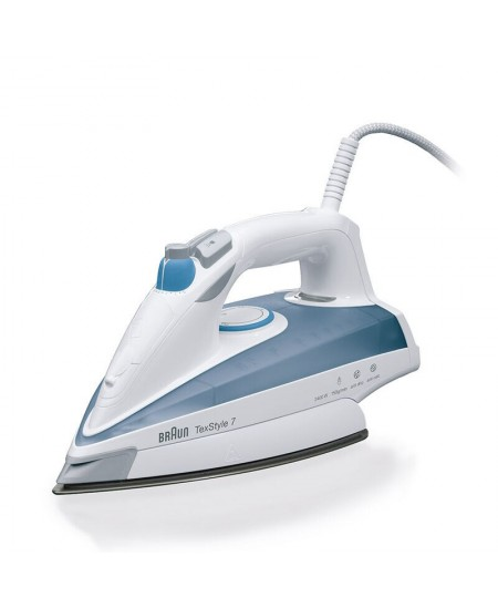 Braun Iron TS 725 Steam, 2400 W, Water tank capacity 400 ml, Continuous steam 50 g/min, Steam boost performance 180 g/min, Blue/