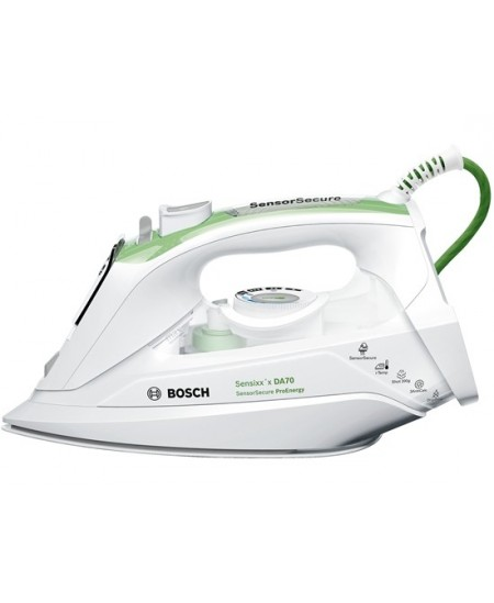 Iron Bosch TDA702421E White/Green, 2400 W, With cord, Continuous steam 45 g/min, Steam boost performance 200 g/min, Anti-drip fu
