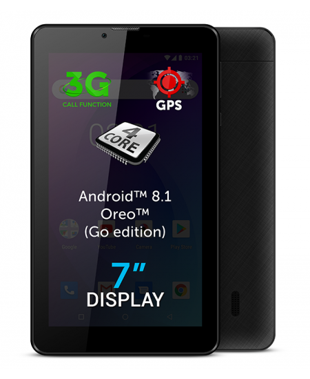 "Allview AX503 7 "", Black, LCD, 1024 × 600 pixels, Cortex-A7 Quad-Core, 1.3 GB, 8 GB, 3G, Wi-Fi, Front camera, 2 MP, Blueto"