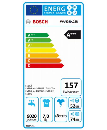 Bosch Serie 4 Washing Machine WAN240L2SN Front loading, Washing capacity 7 kg, 1200 RPM, A+++, Depth 55 cm, Width 60 cm, White,