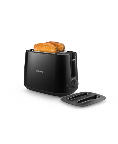 Philips Daily collection toaster HD2582/90 Black, Plastic, 900 W, Number of slots 2, Number of power levels 8, Bun warmer includ