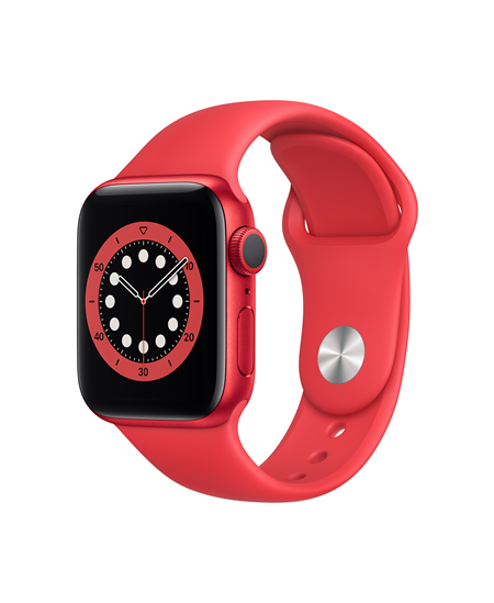 Apple Series 6 GPS Smart watch, GPS (satellite), LTPO OLED, Touchscreen, Heart rate monitor, Waterproof, Bluetooth, Red