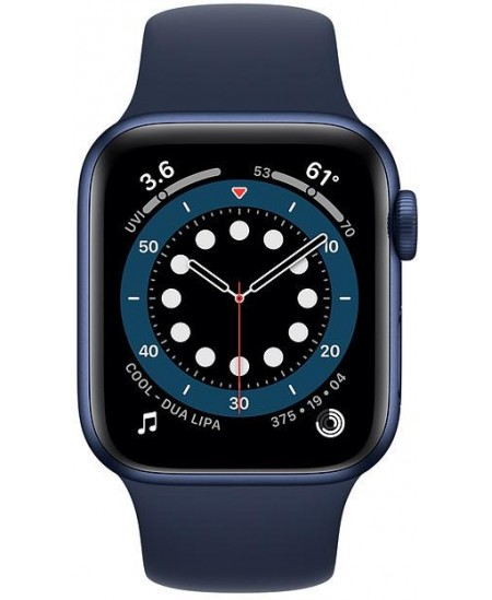 Apple Series 6 GPS Smart watch, GPS (satellite), LTPO OLED, Touchscreen, Heart rate monitor, Waterproof, Bluetooth, Blue/Deep Na