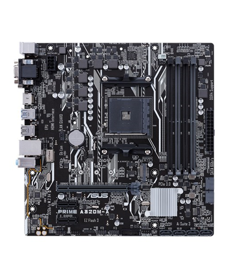Asus PRIME A320M-A Processor family AMD, Processor socket AM4, DDR4-SDRAM 2133,2400,2666,2933,3200 MHz, Memory slots 4, Supporte