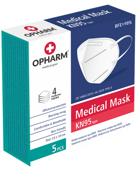 Respiratoriai OPHARM Medical KN95, 5 sluoksnių, 5 vnt.