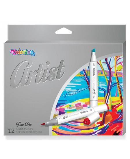 Eskizavimo markeriai COLORINO Artist, dvipusiai, 12 spalvų