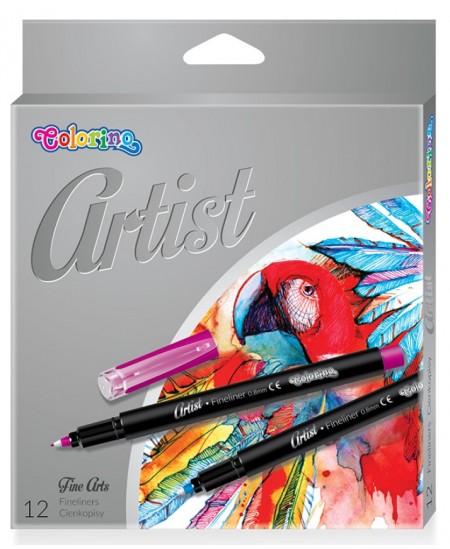Rašikliai COLORINO Artist Fineliners, 0.8 mm, 12 spalvų