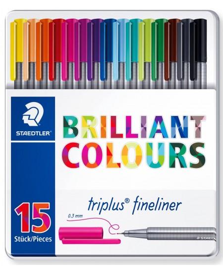 Rašikliai STAEDTLER TRIPLUS Fineliner, 0.3 mm, 15 spalvų