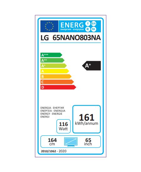 "LG 65NANO803NA 65"" (164 cm), Smart TV, WebOS, 4K UHD NanoCell, 3840 x 2160, Wi-Fi, Black"