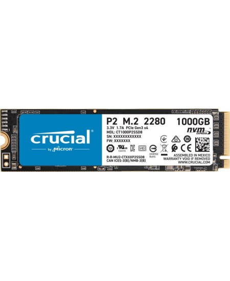Crucial SSD P2 1000 GB, M.2 2280, PCIe G3 1x4 / NVMe