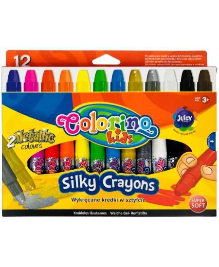 Spalvotos kreidelės COLORINO su metalizuotomis spalvomis, 12 spalvų