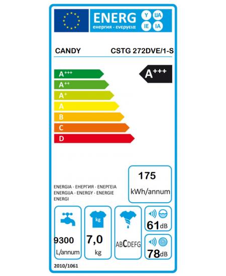 Candy Washing machine CSTG 272DVE/1-S A+++, Top loading, Washing capacity 7 kg, 1200 RPM, Depth 60 cm, Width 40.5 cm, 2D, White