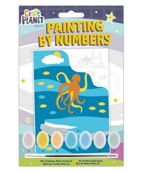 Spalvinamas paveikslas CRAFT PLANET, pagal skaičius,povandeninis gyvenimas