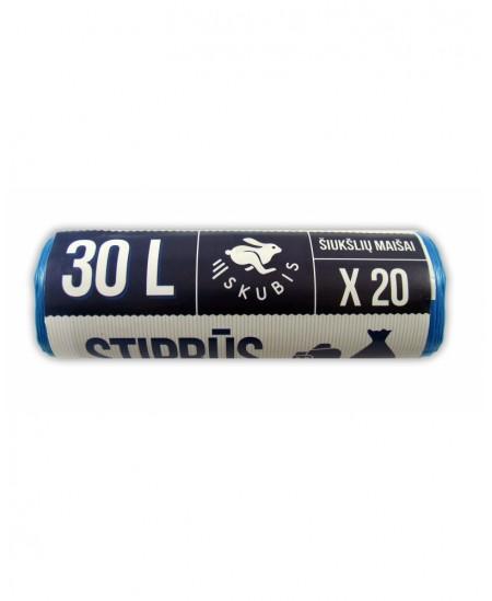 Šiukšlių maišai SKUBIS STRONG, 30 litrų, rulone 20 vnt., 12 µm, mėlynos spalvos