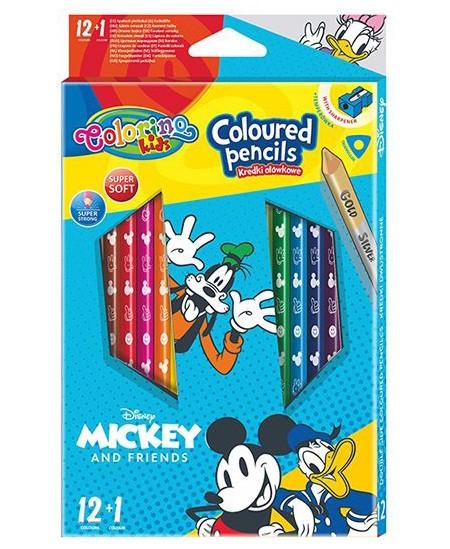 """Spalvoti pieštukai COLORINO Disney \""""Peliukas Mikis\"""", tribriauniai, su drožtuku, 12 spalvų"""