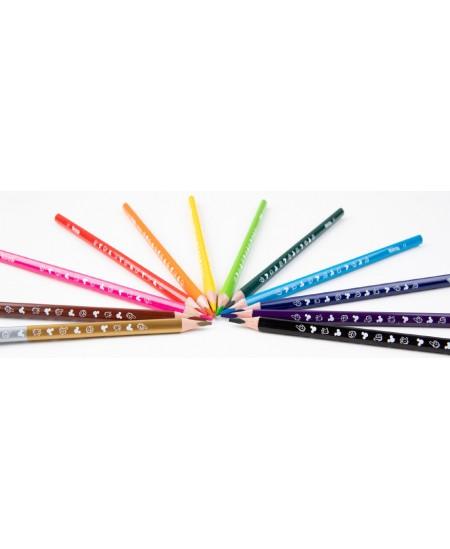 """Spalvoti pieštukai COLORINO Disney """"Peliukas Mikis"""", tribriauniai, su drožtuku, 12 spalvų"""