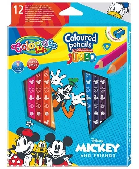 """Spalvoti pieštukai COLORINO Disney \""""Peliukas Mikis\"""" JUMBO, tribriauniai, su drožtuku, 12 spalvų"""