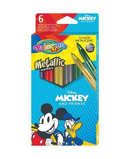 """Blizgūs flomasteriai COLORINO Disney \""""Peliukas Mikis\"""", 6 spalvos"""