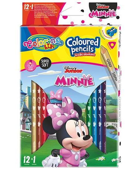 """Spalvoti pieštukai COLORINO Disney \""""Pelytė Minė\"""", tribriauniai, su drožtuku, 12 spalvų"""