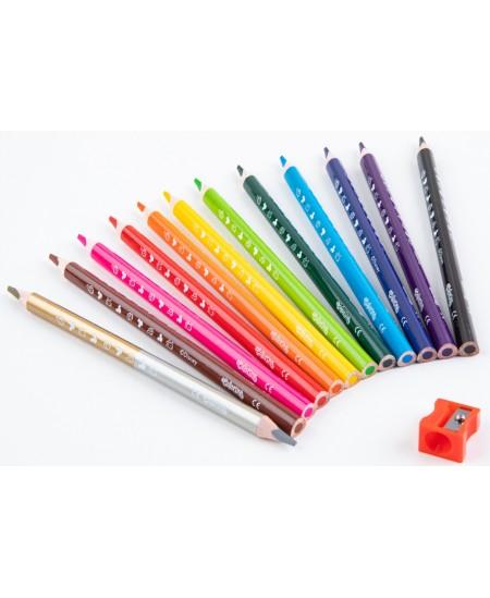 """Spalvoti pieštukai COLORINO Disney """"Pelytė Minė"""" JUMBO, tribriauniai, su drožtuku, 12 spalvų"""
