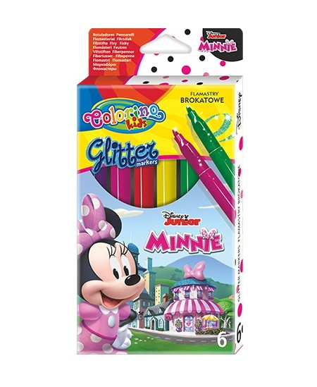 """Blizgūs flomasteriai COLORINO Disney \""""Pelytė Minė\"""", 6 spalvos"""