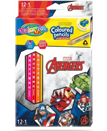 """Spalvoti pieštukai COLORINO Marvel \""""Keršytojai\"""", tribriauniai, su drožtuku, 12 spalvų"""