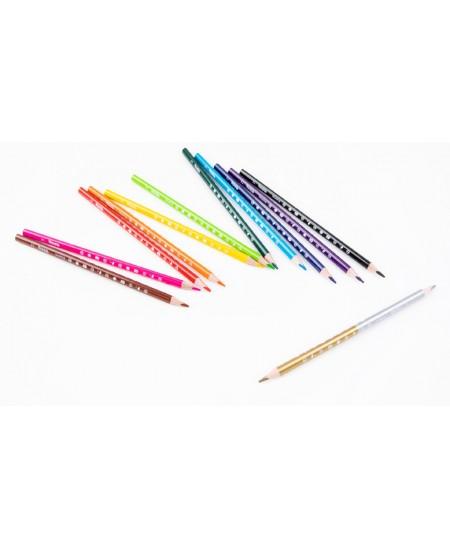"""Spalvoti pieštukai COLORINO Marvel """"Keršytojai"""", tribriauniai, su drožtuku, 12 spalvų"""