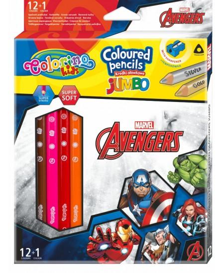 """Spalvoti pieštukai COLORINO Marvel """"Keršytojai"""" JUMBO, tribriauniai, su drožtuku, 12 spalvų"""