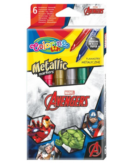 """Blizgūs flomasteriai COLORINO Marvel \""""Keršytojai\"""", 6 spalvos"""