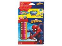 """Spalvoti pieštukai COLORINO Marvel """"Žmogus voras"""", tribriauniai, su drožtuku, 12 spalvų"""