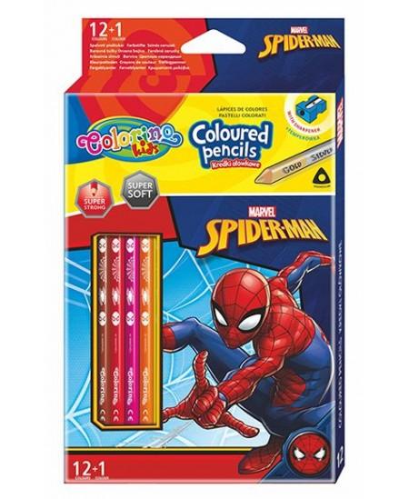 """Spalvoti pieštukai COLORINO Marvel \""""Žmogus voras\"""", tribriauniai, su drožtuku, 12 spalvų"""