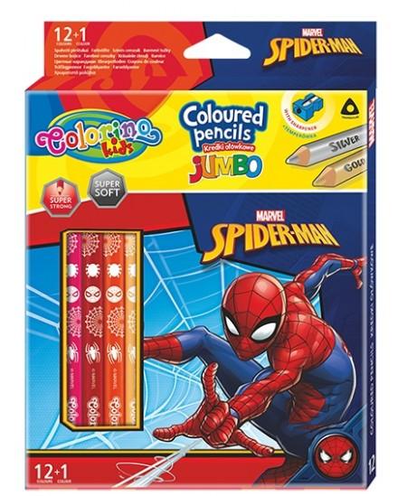 """Spalvoti pieštukai COLORINO Marvel \""""Žmogus voras\"""" JUMBO, tribriauniai, su drožtuku, 12+1 spalvų"""