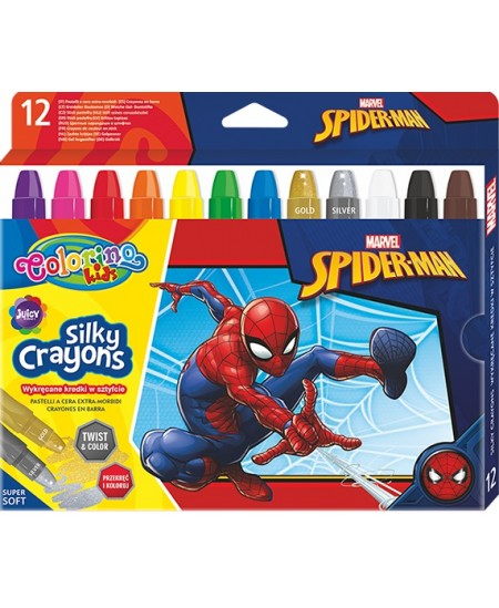 """Šilkinės kreidelės COLORINO Marvel """"Žmogus voras"""", išsukamos, 12 spalvų"""