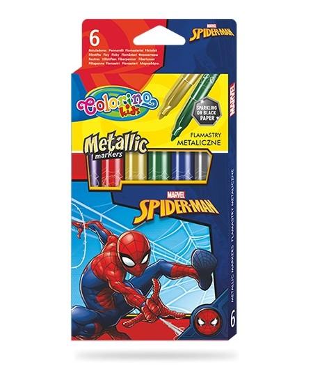 """Metalizuoti blizgūs flomasteriai COLORINO Marvel """"Žmogus voras"""", 6 spalvos"""