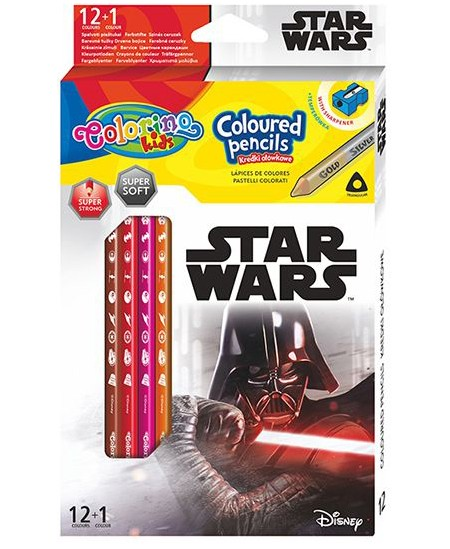 """Spalvoti pieštukai COLORINO Marvel \""""Žvaigždžių karai\"""", tribriauniai, su drožtuku, 12 spalvų"""