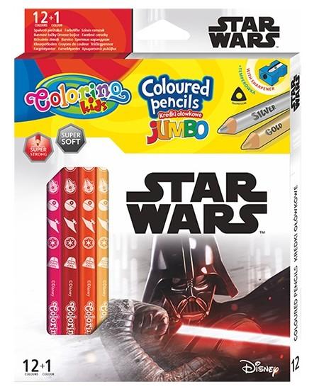 """Spalvoti pieštukai COLORINO Marvel \""""Žvaigždžių karai\"""" JUMBO, tribriauniai, su drožtuku, 12 spalvų"""