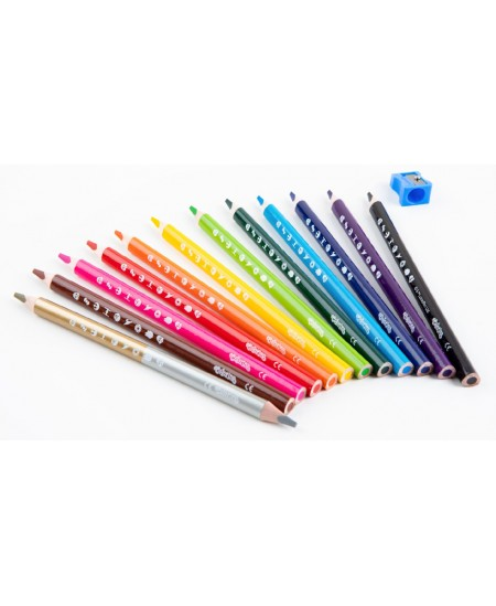 """Spalvoti pieštukai COLORINO Marvel """"Žvaigždžių karai"""" JUMBO, tribriauniai, su drožtuku, 12 spalvų"""