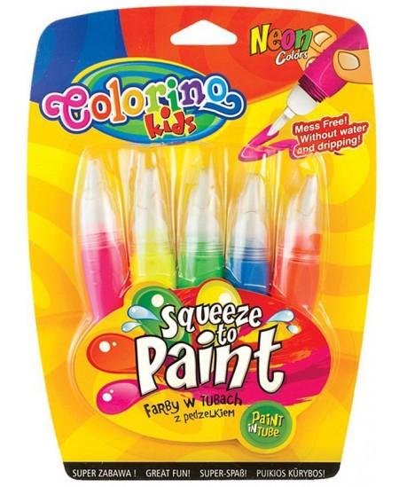 Dažai tūbelėje su teptuku COLORINO, ryškūs neoniniai, 5 spalvos